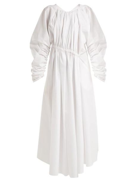 Jil Sander - Gathered Asymmetric Cotton Dress - Womens - White