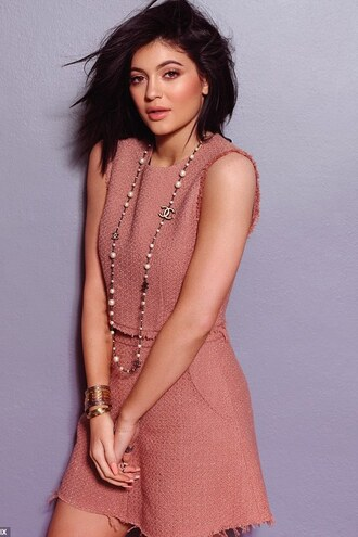 skirt top kylie jenner editorial two-piece dusty pink