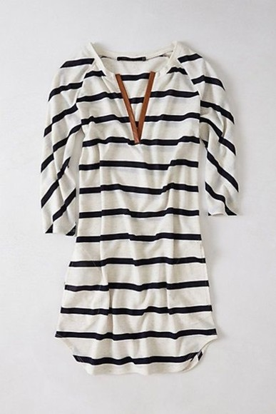 shirt striped black & white tunic brown leather v-neck blouse striped shirt blue and white striped stripes mid length sleeves comfy dress