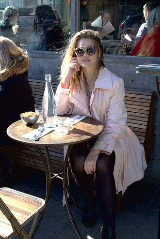 sunglasses laney degrasse model curvy trench coat pink coat tortoise shell sunglasses tights boots black boots