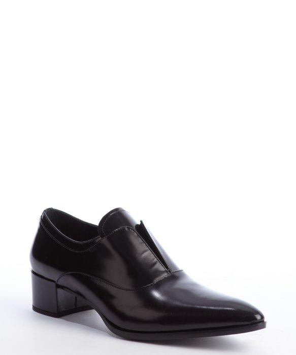 Prada black leather  pointed toe heel loafers | BLUEFLY up to 70% off designer brands