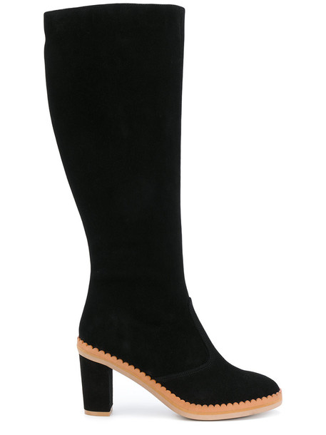 See by Chloe high women knee high knee high boots leather suede black shoes