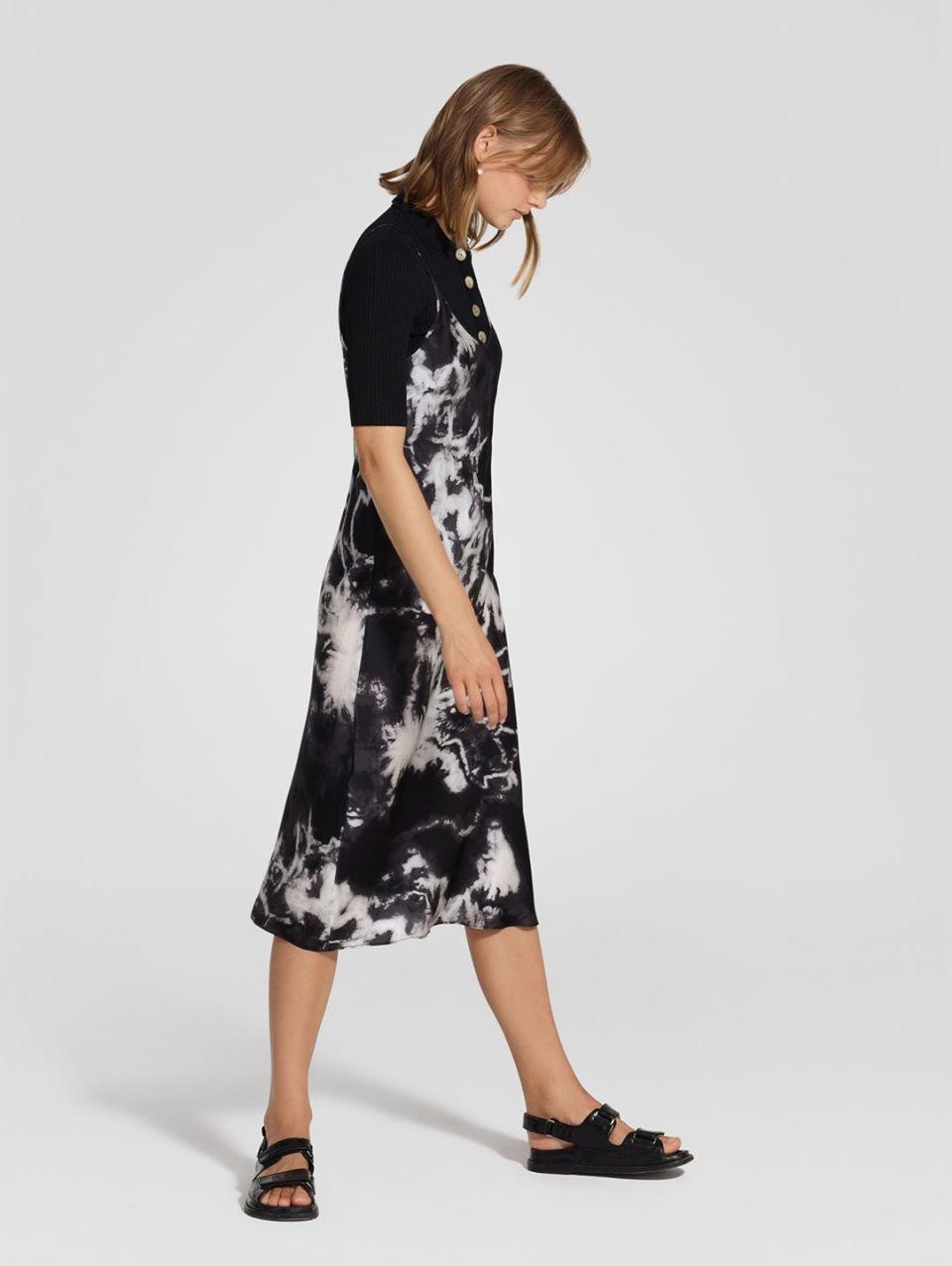 Silk Bias Cut Dress Tie Dye Black