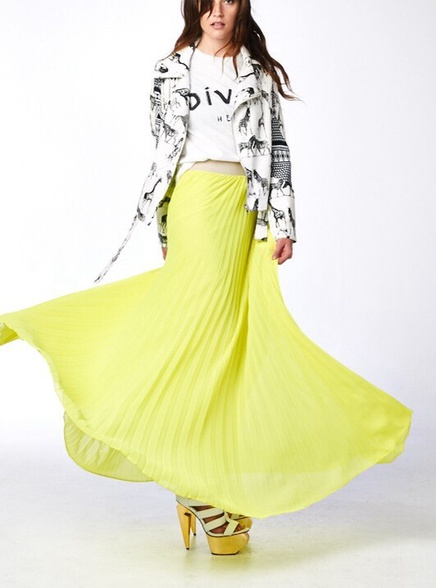 Designer Long Pleated Yellow Maxi Skirt