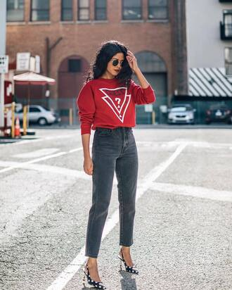 jeans guess tumblr black jeans cropped jeans sweater red sweater slingbacks pumps pointed toe pumps sunglasses fall outfits