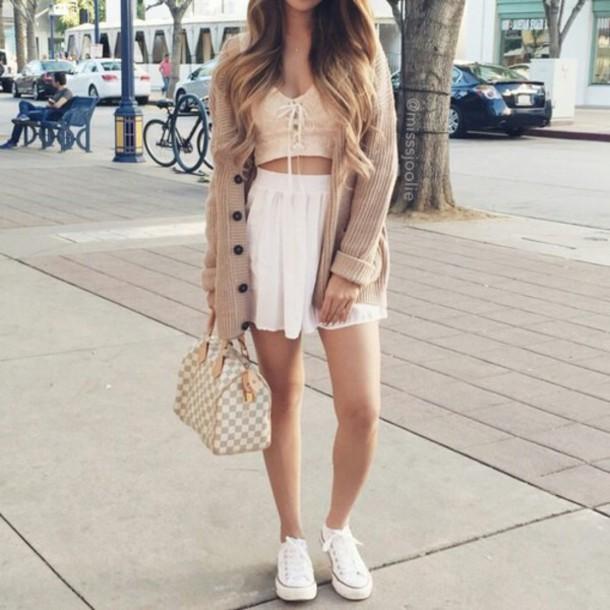 blouse skirt cardigan