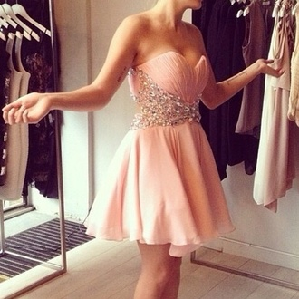 light pink short sleeveless bling dress homecoming dress short dress dusty pink bedazzled