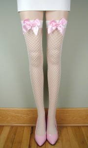 Spandex Industrial Net Stockings w Bows White Pink | eBay