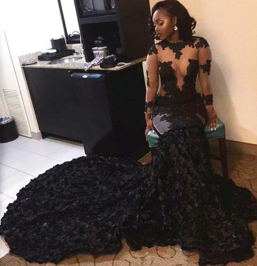 Aliexpress Buy Long Sleeve Sheer Black Girl Prom Dresses 2017
