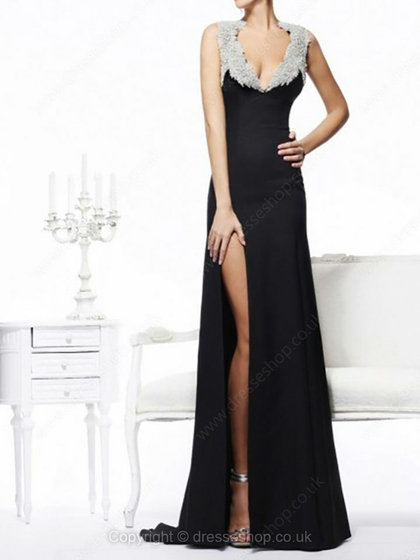 Neck chiffon sweep train split front prom dresses