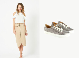 skirt midi skirt beige nude nude skirt sneakers animal print zipped skirt snooki