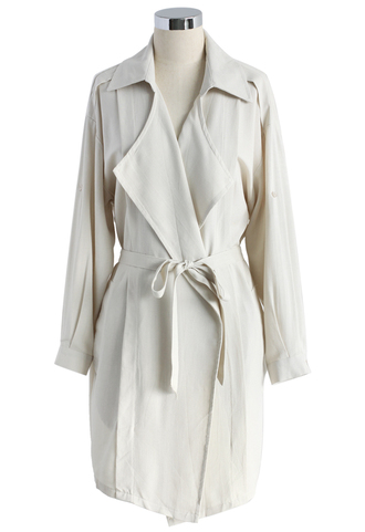 coat casual vibe belted cotton trench coat in sand trench coat belted coat chicwish