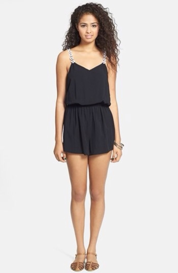 tank top romper black flowers strapped