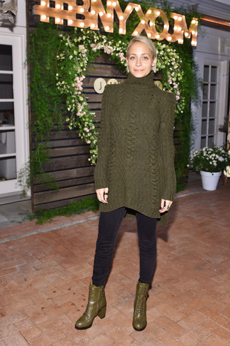 sweater sweater dress olive green nicole richie pants boots turtleneck fall sweater fall outfits shoes