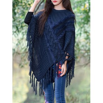 cardigan cape fringes knitted cardigan boho boho chic dark blue winter outfits fall outfits knitwear