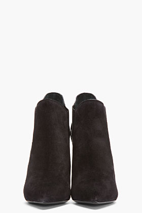 Saint Laurent Black Suede Pointed Paris Chelsea Boots for women | SSENSE