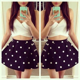 top white crop tops dark blue polka dots skirt studded iphone cover phone case mint