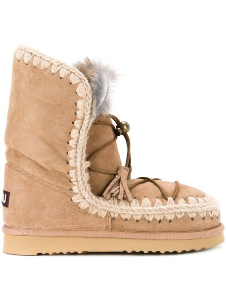Mou women boots lace brown shoes