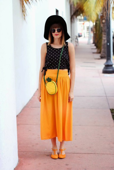orange shoes steffy's pros and cons top bag skirt pineapple polka dots