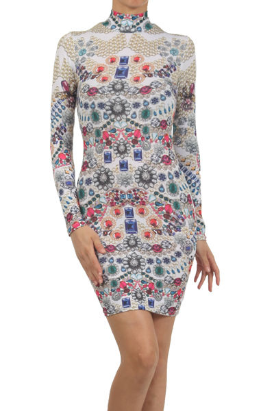 Bejeweled jewelry print mock neck sexy bodycon fitted mini long sleeve dress usa