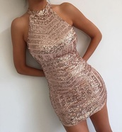 dress,gold dress,sparkly dress,party dress,mini,pink dress,pink,gold,crystal rose gold sequin,rose gold