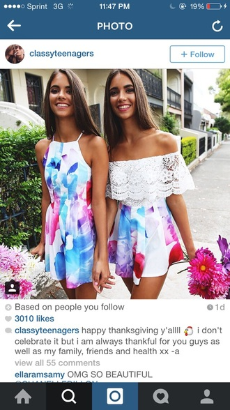 short dress white dress floral dress