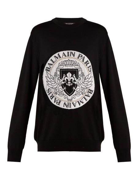 Balmain sweater embroidered knit white black