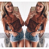 fall jacket,suede jacket,brown jacket,perfecto,cropped jacket