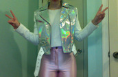 jacket,vest,sweater,shirt,jeans,high waisted jeans,metallic,pink,white