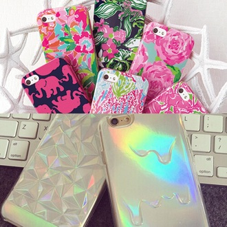 phone cover iphone case pink flowers holographic grey green forest iphone