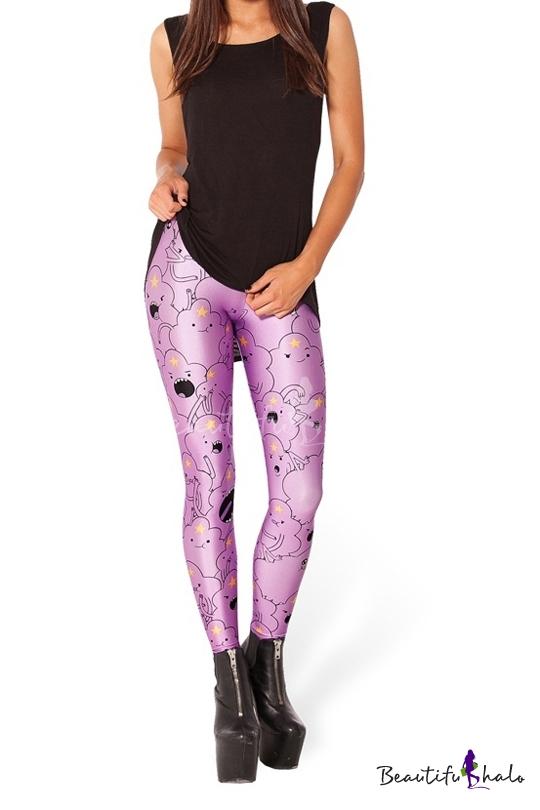 Lilac cute cartton pattern and star print skinny leggings