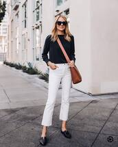 bag,crossbody bag,white jeans,flare jeans,cropped jeans,mules,black blouse,black sunglasses