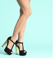 shoes,steve madden,t-strap heels,black and gold,high heels,sandals