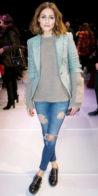 sweater blazer jeans paris fashion week 2018 olivia palermo blogger