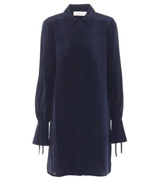 dress shirt dress silk blue