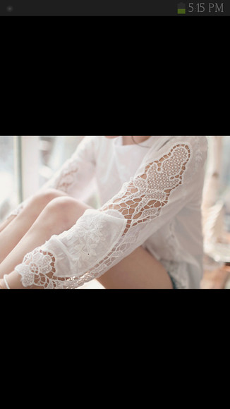 shirt lace white lace shirt white t-shirt long sleeve long sleeve shirt white long sleeve