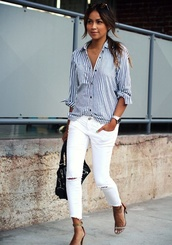 skirt,blouse,blue and white,stripes,button down shirt,casual,white slashed jeans,need this shirt,jeans,ripped jeans,shoes,blue,white,brown,white jeans,brown heels,blue and white shirt