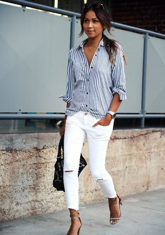 skirt blouse blue and white stripes button down shirt casual white slashed jeans need this shirt jeans ripped jeans shoes blue white brown white jeans brown heels blue and white shirt