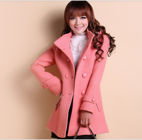 Cheap Design long sections slim stand collar Korean  woolen trench coat in women outcoat from women clothing on sightface.com
