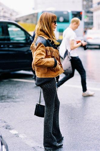 jacket blogger vanessa jackman scarf fringes printed pants