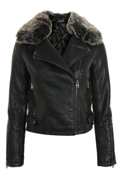 Topshop jacket biker jacket fur faux fur black