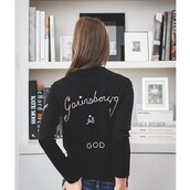 sweater,tumblr,black sweater,embroidered,long sleeves,embellished jacket,quote on it