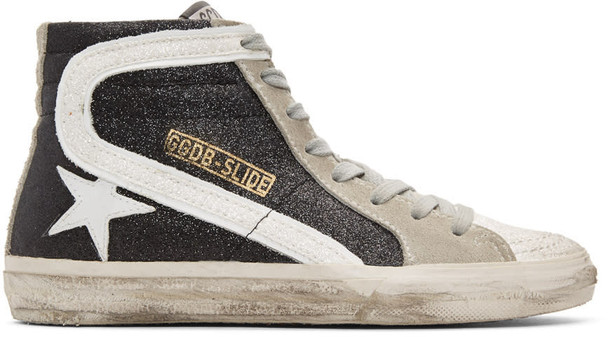 Golden goose glitter high sneakers black shoes