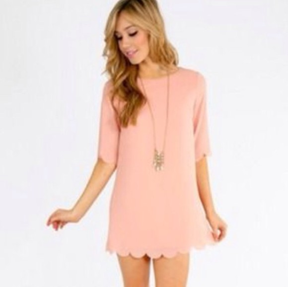 scalloped shift dress