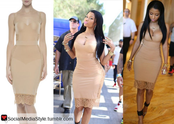 nicki minaj nude la perla dress dress