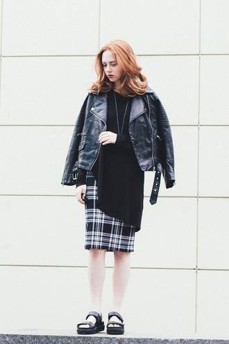 kristina magdalina blogger jacket jewels top skirt shoes