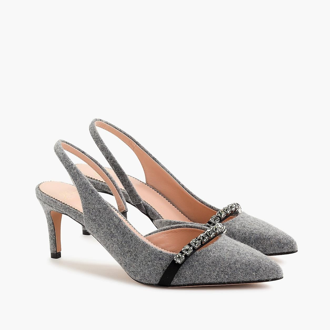 Colette Slingback D'orsay Pumps In Wool-Crystal