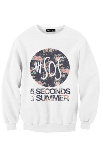 sweater 5 seconds of summer floral shirt