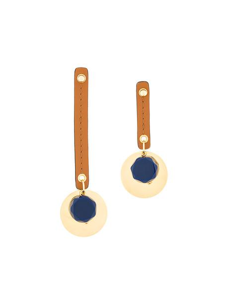 MARNI metal women geometric earrings leather blue jewels