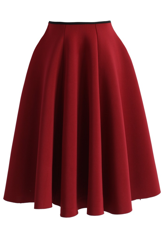 Simple Chic Airy Full Skirt in Wine - Retro, Indie and Unique Fashion